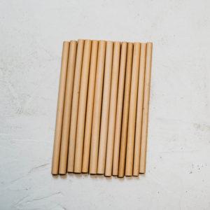 12 pailles en bambou 20 cm diamètre moyen 10 mm