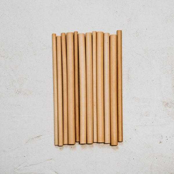 12 pailles bambou 20cm mix diamètres aléatoires