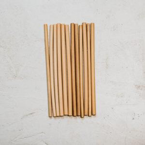 12 pailles bambou 20cm fines diamètre 7mm