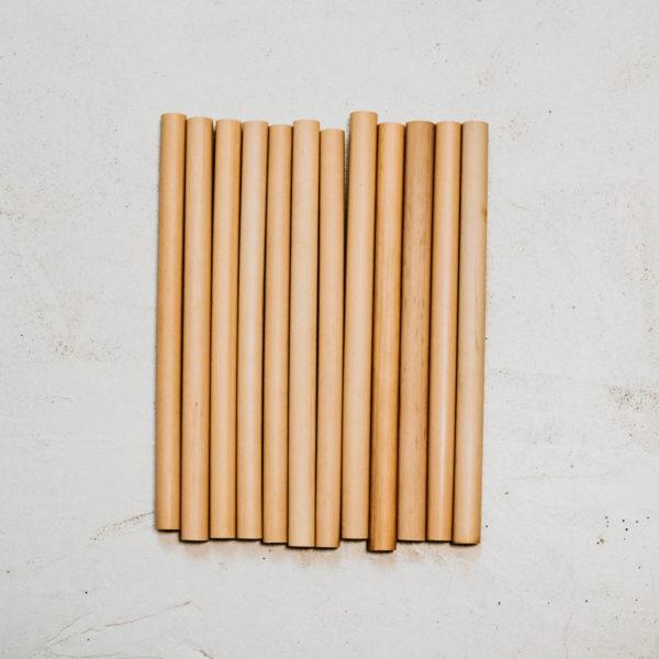 12 pailles bambou 20cm grand diamètre 15mm