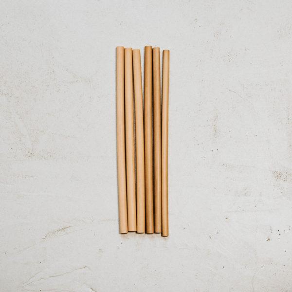 6 pailles en bambou 20cm fines diamètre 7mm