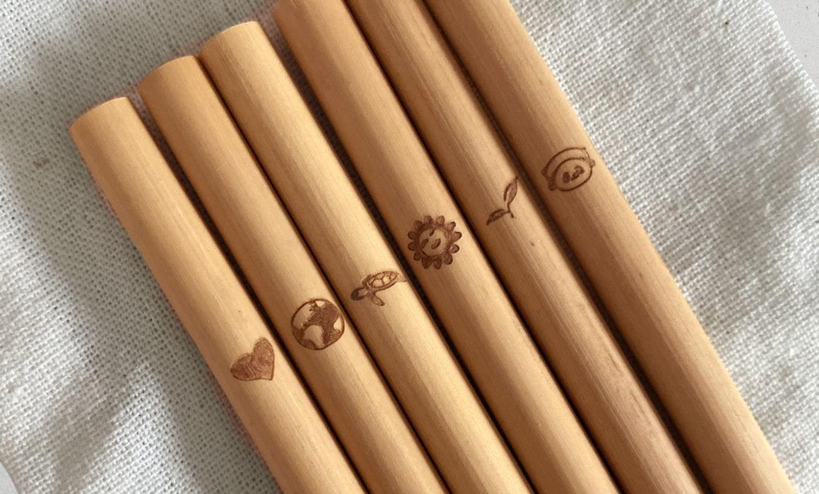 Pailles bambou réutilisables pour enfants écolos